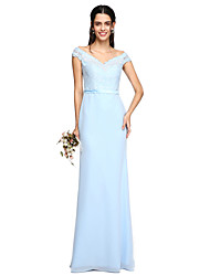 2017 Lanting Bride® Floor-length Chiffon / Lace See Through Bridesmaid Dress - Off-the-shoulder with Sash