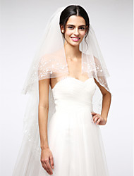 Wedding Veil Two-tier Chapel Veils Beaded Edge Net