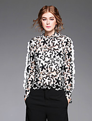 Egeer  Women's Casual/Daily Vintage Fall ShirtEmbroidered Round Neck Long Sleeve White Polyester