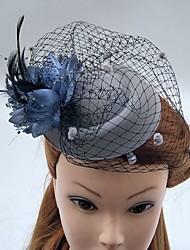 Women's Feather Tulle Net Headpiece-Wedding Special Occasion Fascinators Hats Birdcage Veils 1 Piece