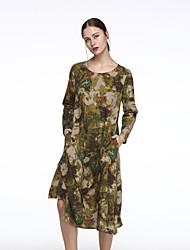 De las mujeres Corte Ancho Vestido Casual Floral / Bloques Asimétrico Escote Redondo Algodón / Lino