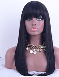 130% Density Brazilian Virgin Hair Lace Front Wig Straight Hair With Bang Unprocessed Human Virgin Hair Lace Wig With Natural Black Color