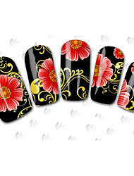 100sheets New Mixed Cartoon  Flower Water Transfer Sticker Nail Art Beautiful STZ100