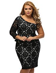 Women's Black Lace Illusion Curvaceous One Shoulder Peplum Dress