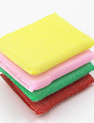 4 PCS High Quality Kitchen Cleaning Brush & Cloth Tools Textile Scouring Pad Dishes Wash (Random Colour)