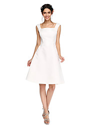 2017 Lanting Bride® Knee-length Satin Open Back Bridesmaid Dress - A-line Square with Pleats