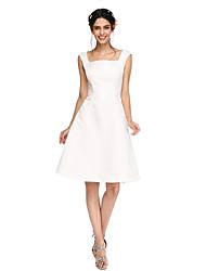 2017 lanting bride® Satin knielangen öffnen Brautjungfer Kleid zurück - eine Online-Quadrat mit Falten