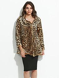 Mulheres Casaco de Pelo Tamanhos Grandes / Casual / Festa/Coquetel Simples Outono / Inverno,Leopardo Marrom Acrílico Colarinho Chinês-