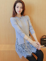 Women's Lace Casual/Daily Cute Long PulloverPatchwork Blue / Pink / White / Black / Gray Round Neck Long Sleeve