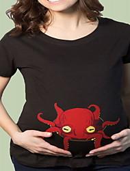 Gravidez Camiseta Casual Simples Verão,Estampado Cinza Algodão Decote Redondo Manga Curta Média