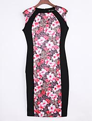 Robe Aux femmes Trapèze / Moulante Vintage / Simple / Street Chic,Fleur Col Arrondi Mi-long Coton / Polyester