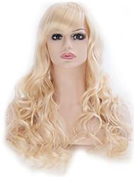 21 pouces de long bouclés femmes mode blond clair perruque naturelle cosplay parti perruques de costume