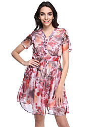 Women's Vintage Print Sheath Dress,V Neck Knee-length Silk