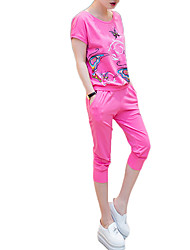 Women's Sports Active Set Pant Suits,Print Round Neck Short Sleeve Red Polyester
