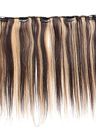 5 Clips 14Inch Clip In Human Hair Extensions 31g Highlighted Straight Hair