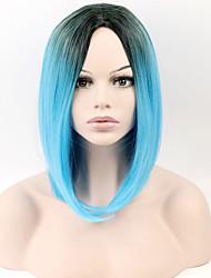 moda gradiente de preto e azul europeu e americano no cabelo curto fosco alta temperatura peruca fio