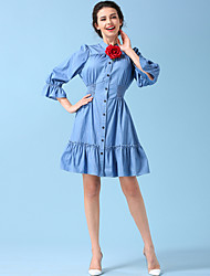 Femme volant/Manches Evasées originale robe en jean palais ting aka mince jupe lotus col feuille tailleur-jupe anti-sai