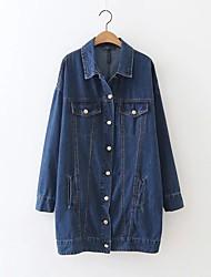 Feminino Jaquetas Jeans Para Noite Casual Simples Moda de Rua Outono Inverno, Sólido Azul Poliéster Colarinho de Camisa-Manga Longa Média