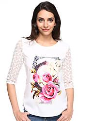 Damen Blumen Niedlich Lässig/Alltäglich T-shirt,Rundhalsausschnitt Frühling ½ Länge Ärmel Weiß Kunstseide Dünn