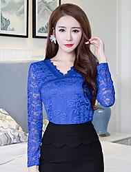 sinal mulheres novo laço blusa 2016 outono&# 39; s rendas moda camisa de manga comprida camisa de grande porte magro