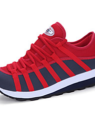 Women's Sneakers Fashion Platform Shoes Comfort Sports Shoes Casual Running Shoes Lace-up Black Red EU36-39