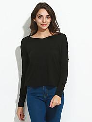 Damen Solide Retro Lässig/Alltäglich T-shirt,V-Ausschnitt Alle Saisons Langarm Blau / Grau Polyester Mittel