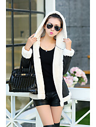 Women's Casual/Daily Simple Coat,Solid Hooded Long Sleeve Winter Black Rabbit Fur Thick