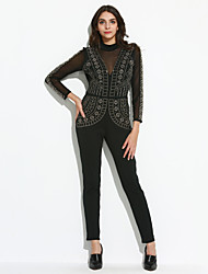 Women's Steampunk Studded Pattern Mesh Insert Jumpsuit