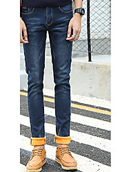 Men's Skinny Jeans Pants,Casual/Daily Simple Solid Mid Rise Zipper Cotton Micro-elastic Winter