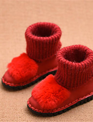 Girls' Boots Comfort Snow Boots Leatherette Winter Casual Comfort Snow Boots Flat Heel Black Ruby Flat
