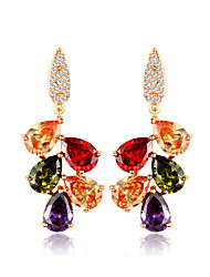 Brincos Compridos Diamante Zircão Dourado Jóias Para Casamento Festa 1 par