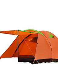 FlyTop® 3-4 человека Световой тент Двойная Семейные палатки Однокомнатная Палатка Стекловолокно Полиуретан Полиэстер Оксфорд