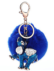Key Chain Sphere Elephant Blue Metal Plush