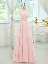 Floor-length Satin / Tulle Bridesmaid Dress - Sheath / Column Scoop with Appliques / Beading