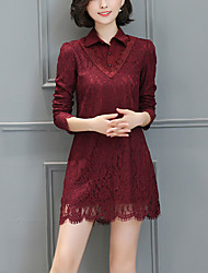 Women's Plus Size /Casual/Daily Street chic Fashion Loose Thin /Lace Dress Patchwork Shirt Collar Above Knee Red Polyester Spring /Fall