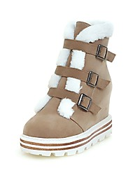 Women's Boots Spring Fall Winter Comfort Ankle Strap Fleece Office & Career Athletic Casual Platform Buckle Split Joint Black Brown Beige