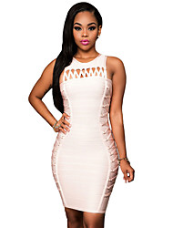 Women's Pink Lace Up Design Luxe Bandage Dress
