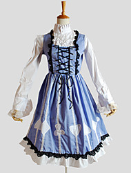 Outfits Sweet Lolita Rococo Cosplay Lolita Dress Solid Long Sleeve Knee-length Top Dress For Cotton