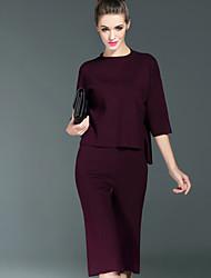 Set Pantalon Costumes Femme,Couleur Pleine Décontracté / Quotidien simple Automne Manches ¾ Col Arrondi Noir Gris Violet Polyester