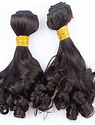 Vinsteen 4 Pieces  400g Tangle-Free Funmi curly Natural color Human Hair Weaves Brazilian Texture Unprocessed Human Hair Extensions Hair Wefts