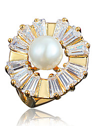 India Big Pearl and Zircon Inlay Statement Ring