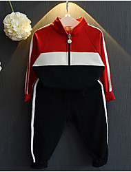 Unisex Going out Casual/Daily School Striped Sets,Cotton Spring Fall Long Sleeve Clothing Set