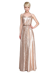 2017 Lanting Bride® Floor-length Sequined Sparkle & Shine Bridesmaid Dress - Sheath / Column Spaghetti Straps with Pleats