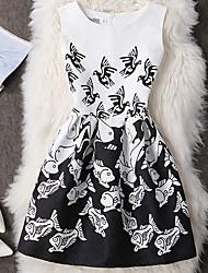 Gaine Robe Femme Décontracté / Quotidien Sexy Vintage Mignon,Imprimé Motif Animal Col Arrondi Au dessus du genou Sans Manches Noir