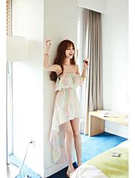 Women's Formal Sexy Chiffon Dress,Solid Off Shoulder Midi Sleeveless White Polyester All Seasons Mid Rise Micro-elastic Medium