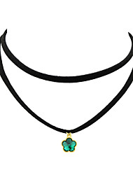 Women's Choker Necklaces Leather Basic Fashion Black Red Green Blue Natural White Jewelry Party 1pc