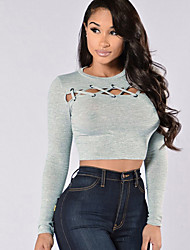 Women's Lace up Going out / Club Sexy / Street chic Spring / Fall T-shirtSolid Criss-Cross Bare Midriff Round Neck Long Sleeve Medium