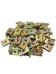 50 Pcs Spring Metal Car Door Pannel Spire Screw U-Type Clips 6mm Diameter