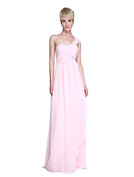 2017 Lanting Bride® Floor-length Chiffon Elegant Bridesmaid Dress - Sheath / Column One Shoulder with Beading Side Draping