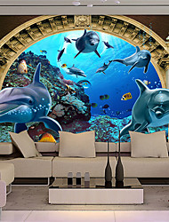 JAMMORY 3D Wallpaper For Home Contemporary Wall Covering Canvas Material Submarine World DolphinXL XXL XXXL
